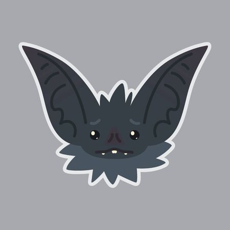 Bat sticker with sad emotion vector illustration Illustration