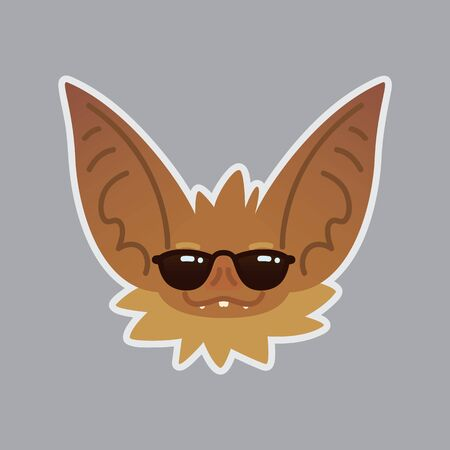 Bat sticker with shades vector illustration