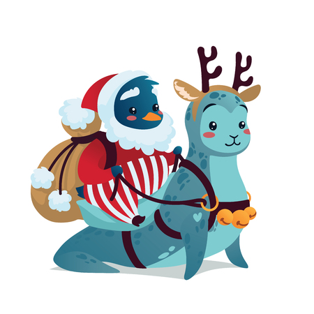 Christmas Characters. Cute Penguin in costume of Santa Klaus with backpack riding Seal in costume of Deer in the snow.