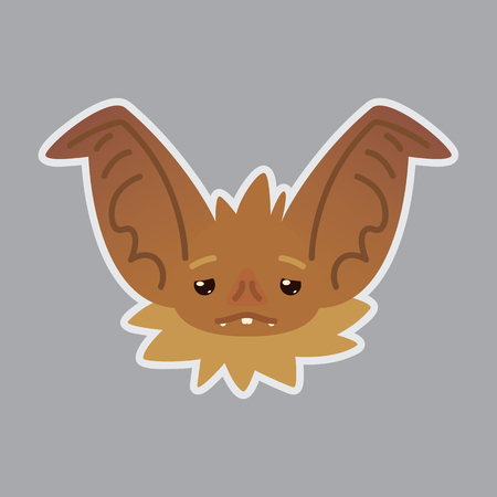 Bat emotional head Vector illustration of bat-eared brown creature shows Weary emotion.