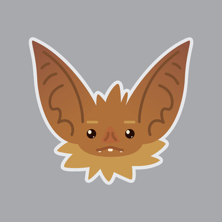 Bat emotional head. Vector illustration of bat-eared brown creature shows neutral emotion. Poker face emoji. Smiley icon. Halloween decoration, print, chat, communication. Apathetic.