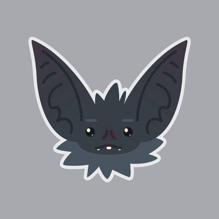 Bat sticker Emoji Vector illustration of cute Halloween bat vampirE.