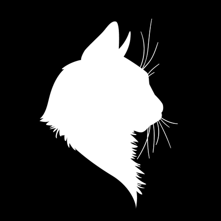 Cat head silhouette. Vector illustration in monochrome style on black background.