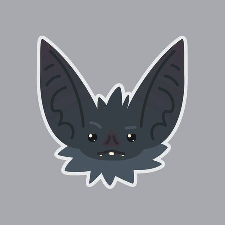 Bat sticker Emoji. Vector illustration of cute Halloween bat vampire shows sad emotion.
