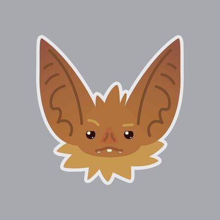 Bat emotional head. Vector illustration of bat-eared brown creature shows distrust emotion. Vectores