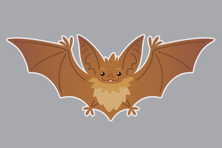 Bat flying. Vector illustration of bat-eared brown creature with outstretched wings in flat style with silhouette syblayer. Sticker. Element for your design, print. Cute Halloween bat vampire icon. Иллюстрация