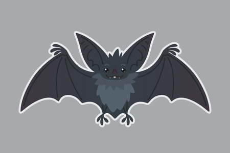 Bat animal. Vector illustration of bat-eared grey creature in flat style with silhouette syblayer. Sticker. Element for your design, print, artwork. Cute Halloween bat vampire icon. 矢量图片