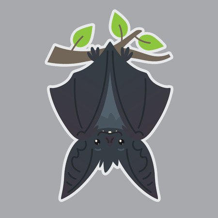 Bat handing upside down on branch. Vector illustration of bat-eared grey creature with closed wings in flat style with silhouette syblayer. Sticker. Print design. Cute Halloween bat vampire icon