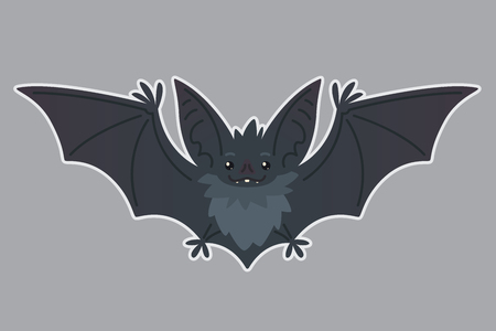 Bat flying. Vector illustration of bat-eared grey creature with outstretched wings in flat style with silhouette syblayer. Sticker. Element for your design, print. Cute Halloween bat vampire icon