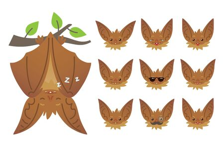Bat sleeping, hanging upside down on branch. Animal emoticon set. Illustration of bat-eared brown creature with closed wings in flat style.