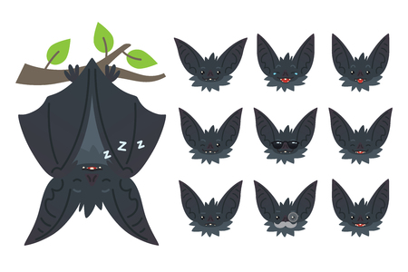 Bat sleeping, hanging upside down on branch. Animal emoticon set. Illustration of bat-eared grey creature with closed wings in flat style. Emotional heads of cute Halloween bat vampire. Emoji. Vector. Vettoriali