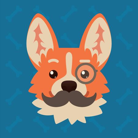 Corgi dog emotional head with monocle and moustache. Vector illustration of cute dog in flat style shows intelligent emotion. Gentlemen emoji. Smiley icon. Chat, communication, print, sticker.