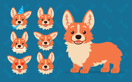 Cute Welsh Corgi constructor. Vector illustration of Corgi dog standing and its head shows different emotions in flat cartoon style on blue background. Smiley. Element for your design. Emoticon illustration. Stock Illustratie