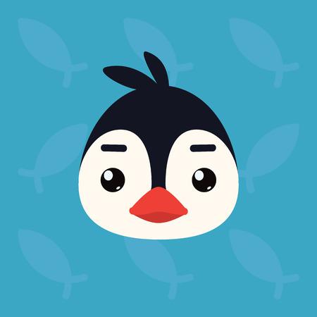 Penguin emotional head. Vector illustration of cute arctic bird shows neutral emotion. Illustration