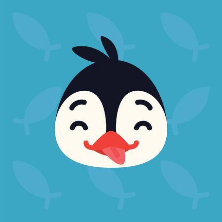 Penguin emotional head. Vector illustration of cute arctic bird shows playful emotion.