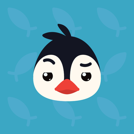 Penguin emotional head. Vector illustration of cute arctic bird shows distrust emotion. Doubt emoji. Smiley icon. Print, chat, communication. Penguin in flat cartoon style on blue background.