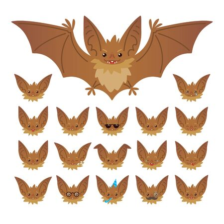 Halloween character emoticon set. Vector illustration of cute flying bat vampire and it s bat-eared snout with different emotions in flat style. Stock Illustratie