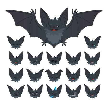 Halloween character emoticon set. Vector illustration of cute flying grey bat vampire and it s bat-eared snout with different emotions in flat style. Emoticon collection for design, print, decoration. Stock Illustratie