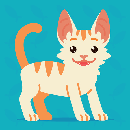 Cute cat standing. Vector illustration of a happy kitten with tail up on blue background. Emoji. Element for your design, stickers, chat. White cat with orange stripes in a flat cartoon style. Illustration
