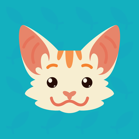 Cat emotional head. Vector illustration of cute kitty shows positive emotion. Smile emoji. Smiley icon. Print, chat, communication. White cat with red stripes in flat cartoon style on blue background.