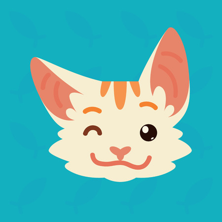 Cat emotional head. Vector illustration of cute kitty shows positive emotion. Blink emoji. Smiley icon. Print, chat, communication. White cat with red stripes in flat cartoon style on blue background. Illustration
