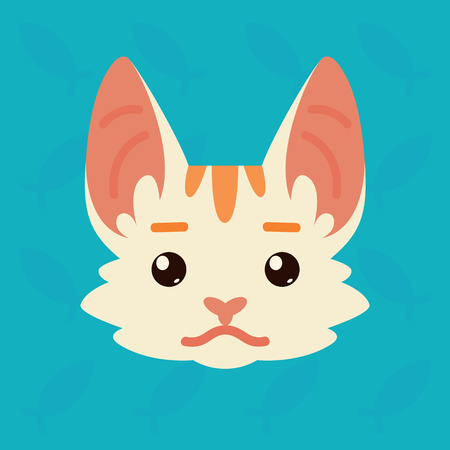 Cat emotional head. Vector illustration of cute kitty shows neutral emotion. Poker face emoji. Smiley icon. Chat, communication. White cat with red stripes in flat cartoon style on blue background. Illustration