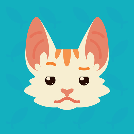 Cat emotional head. Vector illustration of cute kitty shows distrust emotion. Doubt emoji. Smiley icon. Print, chat, communication. White cat with red stripes in flat cartoon style on blue background. Illustration