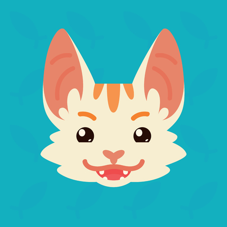 Cat emotional head. Vector illustration of cute kitty shows tricky emotion. Evil emoji. Smiley icon. Print, chat, communication. White cat with red stripes in flat cartoon style on blue background. Иллюстрация