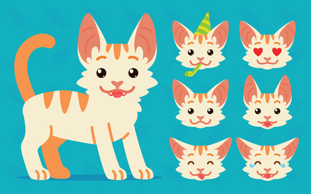 Cute cat standing. Vector illustration of happy kitty and its head sows different emotions on blue background. Emoji. Emoticon. White cat with orange stripes in flat cartoon style. Set.