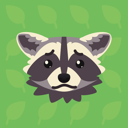 Racoon emotional head. Vector illustration of cute coon shows negative emotion. Sad emoji. Smiley icon. Print, chat, communication. Grey raccoon in flat cartoon style on green background. Unhappy. Vectores