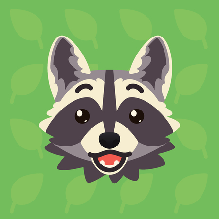 Racoon emotional head. Vector illustration of cute coon shows surprised emotion. Shoked emoji. Smiley icon. Print, chat, communication. Grey raccoon in flat cartoon style on green background. Excited
