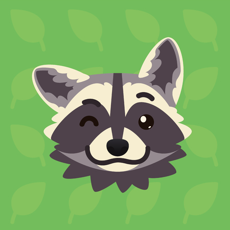 Racoon emotional head. Vector illustration of cute coon blinking shows playful emotion. Blink eye emoji. Smiley icon. Print, chat, communication. Grey raccoon in flat cartoon style on green background