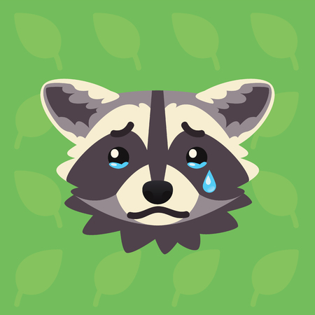 Racoon emotional head. Vector illustration of cute coon shows unhappy emotion. Crying emoji. Smiley icon. Print, chat, communication. Grey raccoon in flat cartoon style on green background. Sadness