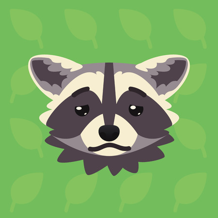 Racoon emotional head. Vector illustration of cute coon shows depressed emotion. Tired emoji. Smiley icon. Print, chat, communication. Grey raccoon in flat cartoon style on green background. Sick Vectores