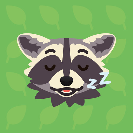 Racoon emotional head. Vector illustration of cute coon shows relaxing emotion. Sleeping emoji. Smiley icon. Print, chat, communication. Grey raccoon in flat cartoon style on green background. Asleep