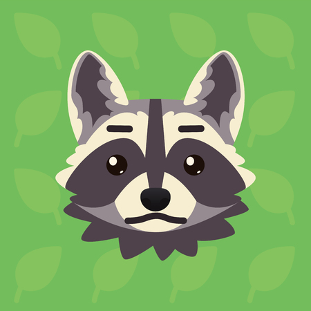 Racoon emotional head. Vector illustration of cute coon shows neutral emotion. Poker face emoji. Smiley icon. Print, chat, communication. Grey raccoon in flat cartoon style on green background.