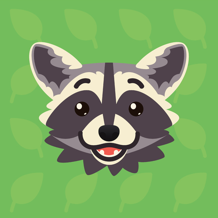 Racoon emotional head. Vector illustration of cute coon shows happy emotion. Hope emoji. Smiley icon. Print, chat, communication. Grey raccoon in flat cartoon style on green background. Amused