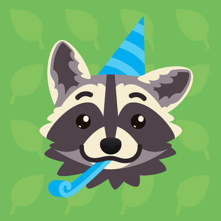 Racoon emotional head. Vector illustration of cute coon shows greeting emotion. Celebrating emoji. Smiley icon. Print, chat, communication. Grey raccoon in flat cartoon style on green background.