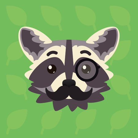 Racoon emotional head. Vector illustration of cute coon with monocle and moustache shows intelligent emotion. Mister emoji. Smiley icon. Print, chat, communication. Grey raccoon in flat cartoon style