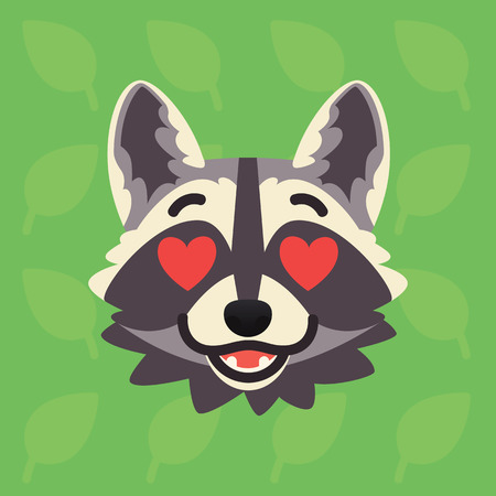 Racoon emotional head. Vector illustration of cute coon with hearts in eyes shows amorous emotion. In love emoji. Smiley icon. Print, chat, communication. Grey raccoon in flat cartoon style Vectores