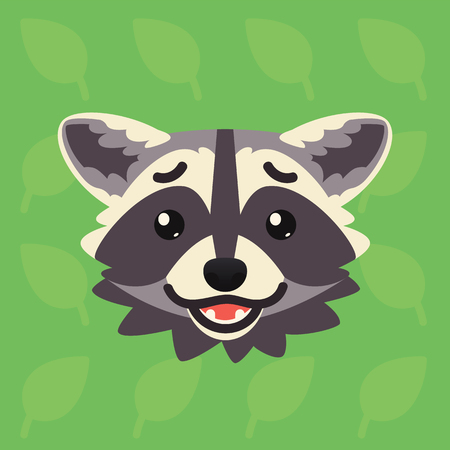 Racoon emotional head. Vector illustration of cute coon shows confused emotion. Abashed emoji. Smiley icon. Print, chat, communication. Grey raccoon in flat cartoon style on green background. Иллюстрация