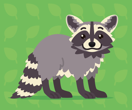 Cute raccoon standing. Vector illustration of a happy coon with striped tail on green background. Emoji. Element for your design, printing, stickers, chat. Grey coon in a flat cartoon style. Vectores