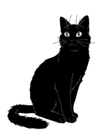 Lindo gato realista sentado. Ilustración de vector de gatito mirando hacia arriba. Líneas grises, figura negra sobre fondo blanco. Elemento para su diseño, impresión, pegatina. Gato negro esponjoso en estilo de dibujo simple.