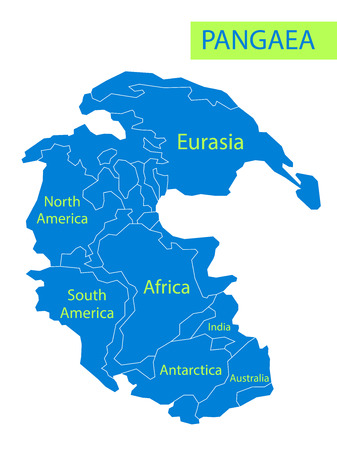 Pangaea or Pangea. Vector illustration of supercontinent that existed during the late Paleozoic and early Mesozoic eras. Map of ancient continent in flat style. Education. Poster.