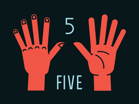 Count on fingers. Number one. Gesture. Stylized hands with all fingers up. Vector illustration with text on dark background. Orange-red silhouette. Element for your design. Icons. Logo. Signs. 5. Vectores