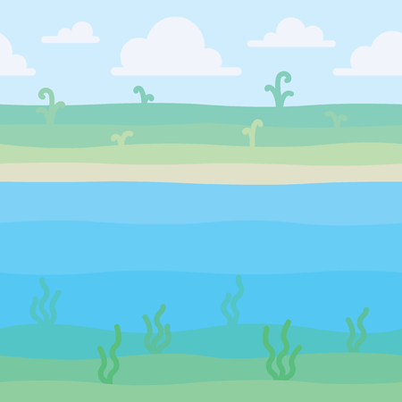Soft nature landscape. Shore with some plants and underwater view with seaweed. Scene for your artwork, infographic. Vector illustration of unified landscape in simple minimalistic flat style. Square 向量圖像