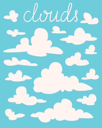 Set of white fluffy cartoon clouds on blue background. Vector illustration in flat style. Elements for your design, artwork, scene, website. Different nature cloudscape weather symbols. Silhouettes