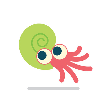 Cute Ammonoid swimming. Vector illustration of prehistoric character in flat cartoon style isolated on white background. Funny red Ammonite with big eyes in green spiral shell. Element for design.