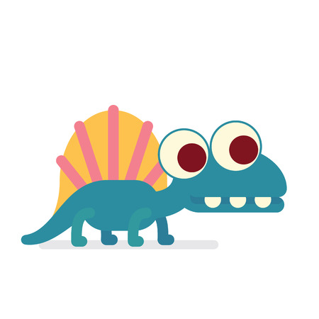 Cute Dimetrodon walking. Animal life. Vector illustration of prehistoric character in flat cartoon style isolated on white background. Funny apex predator with big eyes. Element for design