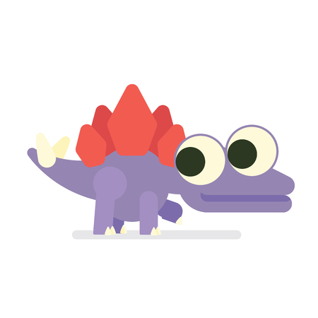 Cute Sregosaurus walking. Dinosaur life. Vector illustration of prehistoric character in flat cartoon style isolated on white background. Funny violet Stegosaur with big eyes. Element for design